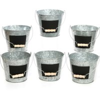 Elegant Expressions by Hosley Galvanized Metal Pails With Chalkboard, Set of 6
