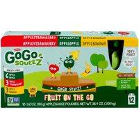 GoGo squeeZ Assorted Flavors Applesauce, 3.2 oz, 12 ct