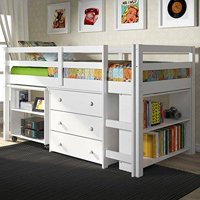 Donco Kids Low Loft With Desk, Chest & Bookcase-Color:White,Size:Twin