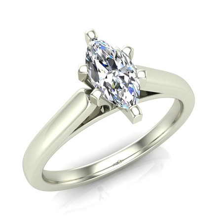 Marquise Good Cut Diamond (Marquise Cut Solitaire Diamond Engagement Ring 14K White Gold 1/4 ctw (I,I1) Popular Quality)