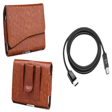 Heavy Brown Leather (Bemz Accessory Bundle for Samsung Galaxy Note 9 - Executive PU Leather Holster Card Slot Carrying Case (Brown) with Heavy Duty Braided Slim USB-C to USB-C Charger Cable (6 Feet), Atom Cloth)