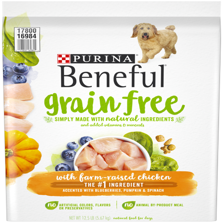 Purina Beneful Grain Free, Natural Dry Dog Food; Grain Free With Real Farm Raised Chicken - 12.5 lb.