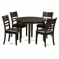East West Furniture Boston 5 Piece Round Dining Table Set with Fields Faux Leather Seat Chairs