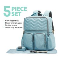 SoHo Collections, Stylish Diaper Bag Tote Backpack, Unisex, 5 Piece Set with Stroller Straps, NY Chevron (Ocean Blue)