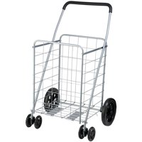 Honey Can Do Steel Folding Dual-Wheel Utility Rolling Cart, Gray