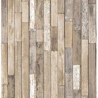 Barn Board Brown Thin Plank Wallpaper