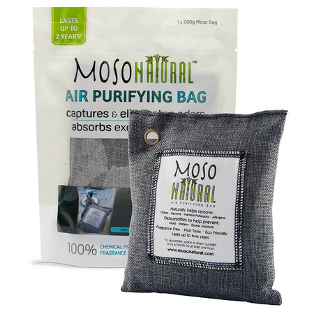 MOSO NATURAL Air Purifying Bag. Bamboo Charcoal Air Freshener, Deodorizer, Odor Eliminator, Odor Absorber For Cars and Closets. 200g Charcoal (Excellent Odor Eliminator)