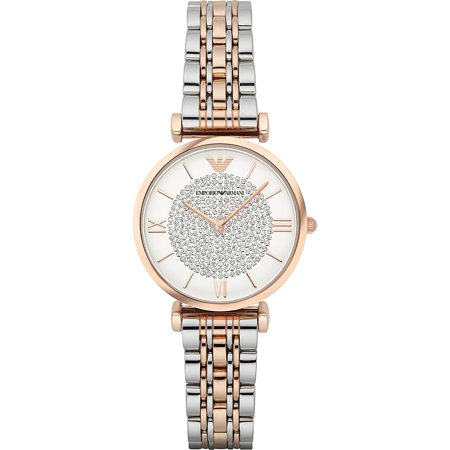 Calendar Two Tone Wrist Watch (Women's Retro Two-Tone Stainless Steel Quartz Watch)