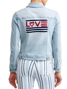 Love Flag Bleached Denim Jacket Women's