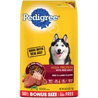 PEDIGREE High Protein – Beef and Lamb Flavor Adult Dry Dog Food, 50 Pound Bonus Bag