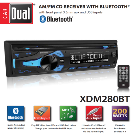 Multimedia Usb Stereo - Dual Electronics XDM280BT Multimedia Detachable 3.7 inch LCD Single DIN Car Stereo with Built-In Bluetooth, CD, USB, MP3 & WMA Player