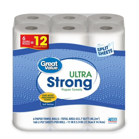 Great Value Ultra Strong Paper Towels, Split Sheet, 6 Double Rolls