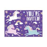 Unicorn Party Invitations, 8ct