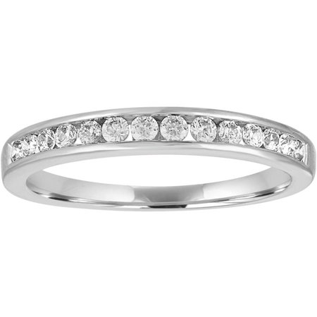 1/4 Carat T.W. Diamond 10kt White Gold Channel Wedding (Gold Channel Wedding Band)