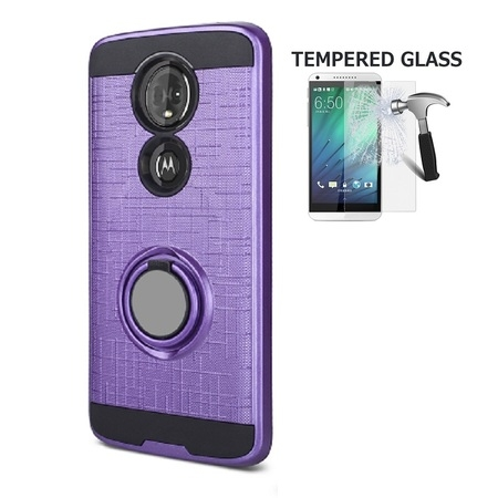 Phone Case for Motorola Moto E5 Supra, Motorola Moto E5 Plus, Metal Texture Cover Case with Ring Stand + Tempered Glass Screen Protector