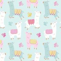 "David Textiles Anti-Pill Fleece Happy Llamas Fabric By The Yard 60"" Wide"