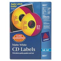 Avery(R) Matte White CD Labels for Inkjet Printers 8691, 100 Face Labels and 200 Spine Labels
