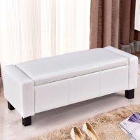 "Gymax White 43"" PU Leather Ottoman Bed Bench Storage Footstool Organizer Furniture"