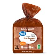 Great Value Hamburger Buns, Whole Wheat, 14 oz, 8 count