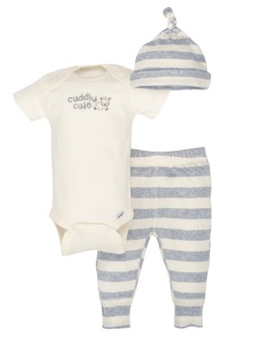 Newborn Baby Boy or Girl Unisex Organic Take-Me-Home Outfit Set, 3pc