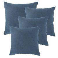 Linen Pillow Covers 20 x 20 Inch Sets of 4 Decorative Square Throw Pillow Cover Cushion Case Sofa Durable Modern Stylish Linen blue Throw Cushion Covers Hidden Zipper