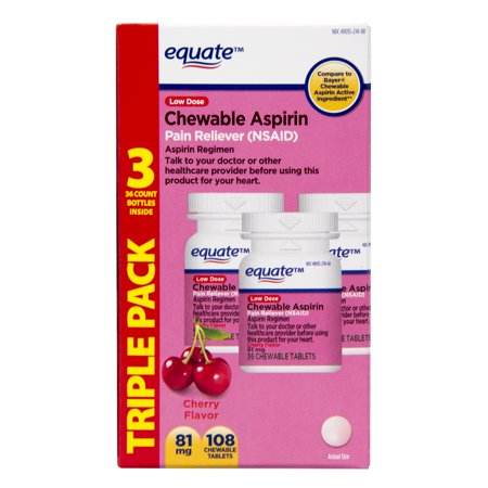 Equate Low-Dose Chewable Aspirin Pain Reliever, Cherry, 81 mg, 36 Count, 3 Pack Chewable Cherry 30 Tabs