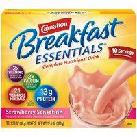 Carnation Breakfast Essentials Powder Drink Mix, Strawberry Sensation, 1.26 oz. Packets, 10 Count