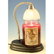 Aurora Pewter Candle Warmer Gift Set - Warmer and Courtneys 26oz Jar Candle - CINNAMON VANILLA