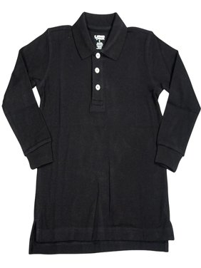 French Toast School Uniform Unisex Long Sleeve Pique Polo Shirt (Sizes 4-20), 33350 BLACK / 4