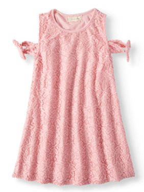 Tied Cold Shoulder Lace Swing Dress (Little Girls & Big Girls)