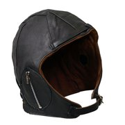 aviator black leather motorcycle cap vintage wwii hat xsmall