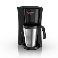 BLACK+DECKER Brew 'n Go Personal Coffeemaker with Travel Mug, Black/Stainless Steel, DCM18S
