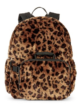 Girls' Leopard Fur Backpack With Lunch Bag