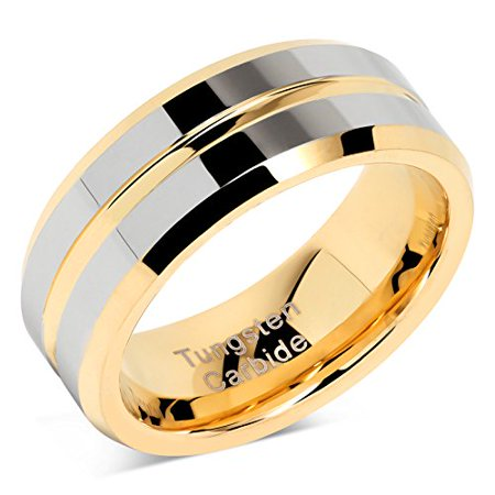 Tungsten Rings for Mens Wedding Bands Gold Silver Two Tone Grooved Center Line Size 8-16 ()
