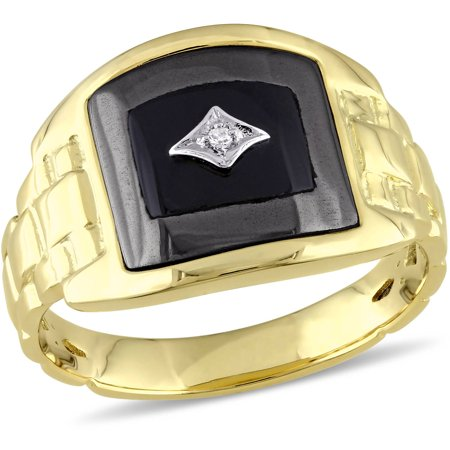 3-2/5 Carat T.G.W. Onyx, Hematite and Diamond-Accent Yellow-Plated Sterling Silver Men's Ring