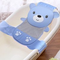 Infant Baby Bathtub Mesh Sling, Adjustable Baby Bath Sling Non-Slip Shower Mash Seat Supprot Cradle Hammock for Newborn 0-2 Year(Blue)