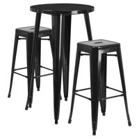 "Flash Furniture 24"" Round Metal Indoor-Outdoor Bar Table Set with 2 Square Seat Backless Barstools, Multiple Colors"