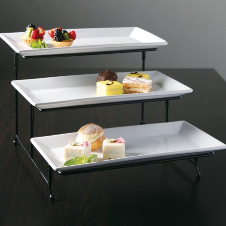 Gibson Elite Gracious Dining 3 Tier Plate Set with Metal Stand](3 Tier Metal Stand)