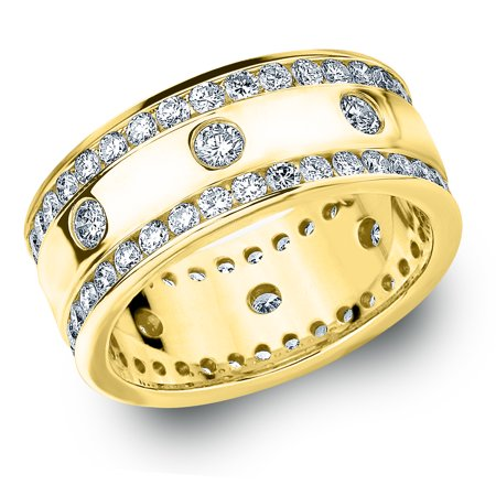 2 CTTW Diamond Eternity Wedding Band in 14K Yellow Gold, 2 CTTW Round Diamond Anniversary Ring 14k Gold Diamond Wedding Ring