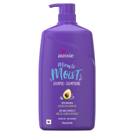 Aussie Paraben-Free Miracle Moist Shampoo w/ Avocado & Jojoba Oil For Dry Hair, 26.2 fl -