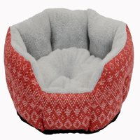 "Cozy Winter Cuddler Dog & Cat Pet Bed, Small, 19"", Red"