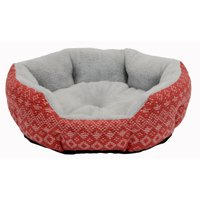 """Cozy Winter Cuddler Dog & Cat Pet Bed, Small, 19"""", Red"""