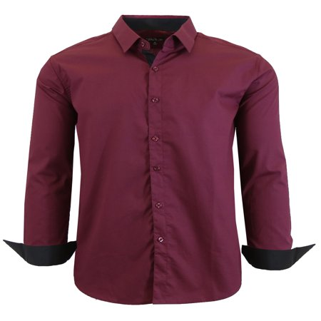Mens Long Sleeve Slim Fit Solid Dress Shirts - image 9 of 9