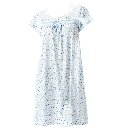 Women's Cap Sleeve Floral Nightgown by EZI - Nightshirt And Cap