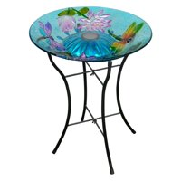 Peaktop - Outdoor 18-Inch Dragonfly Fusion Glass Solar Bird Bath