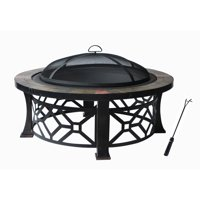 Fire Pit with PVC Cover, Black with Antique Bronze Leg Frame