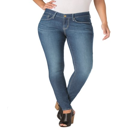 Signature by Levi Strauss & Co. Women's Curvy Skinny Jeans Bonnie Jean Embroidered Jeans