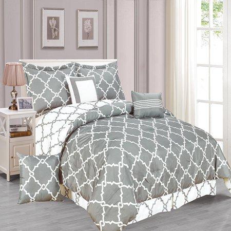 galaxy 7 piece comforter set reversible soft oversized bedding gray full size. Black Bedroom Furniture Sets. Home Design Ideas