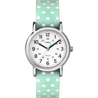 Timex Weekender Reversible Polka Dot Nylon Band Women's Watch (Silver/Green)