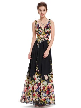 Ever-Pretty Women's Elegant Long V-Neck Sleeveless Semi-Formal Evening Prom Party Bridesmaid Maxi Dresses for Women 09016 (Floral 4 US)
